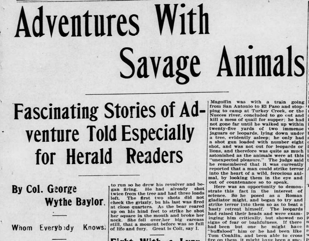 EL Paso Herald wildlife stories